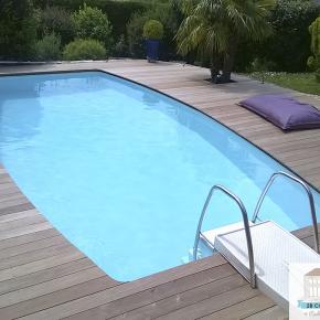 Construction terrasse bois Lentilly, terrasse de piscine bois exotique