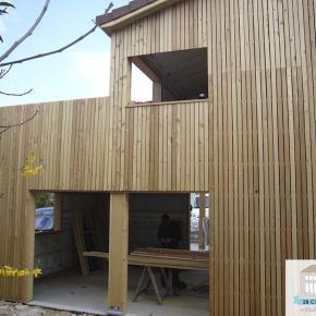 Extension maison bois Lentilly, ouverture menuiseries
